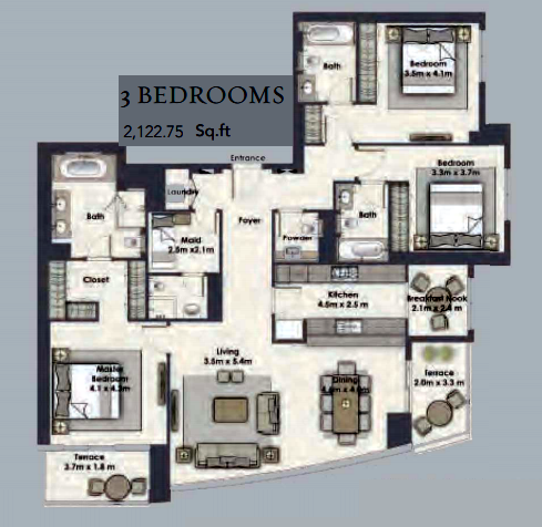 Planning of the apartment 3BR, 2122.75 in Dubai Creek Residences, Dubai