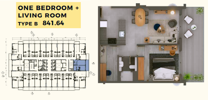 Planning of the apartment 1BR, 841.64 in MAG 318, Dubai
