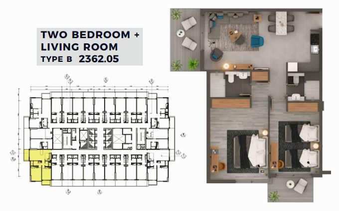 Planning of the apartment 2BR, 2362.05 in MAG 318, Dubai