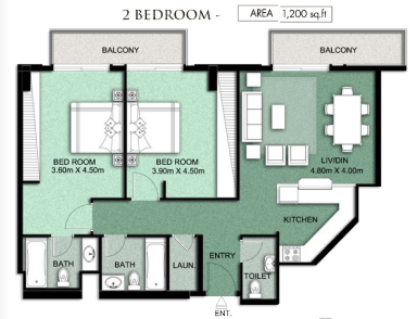 Planning of the apartment 2BR, 1200 in Queue Point Apartments, Dubai