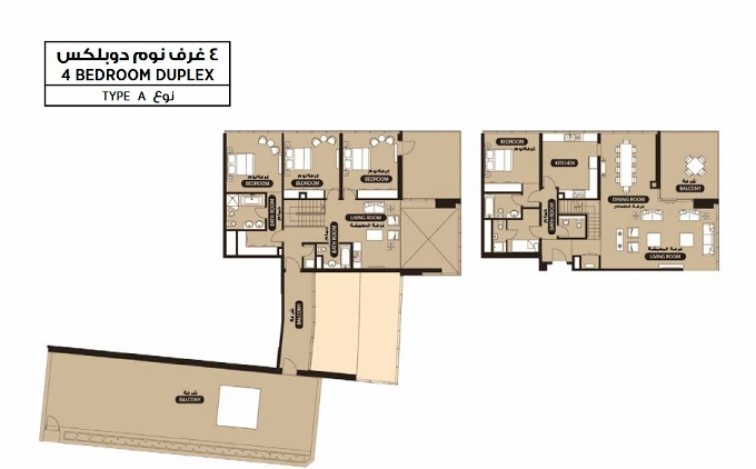 Planning of the apartment 4BR, 4183.5 in Lamar Residence, Abu Dhabi