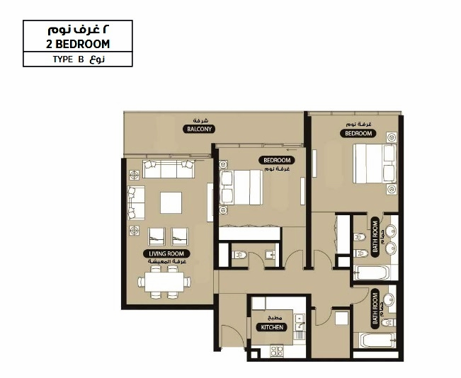Planning of the apartment 2BR, 1297.05 in Lamar Residence, Abu Dhabi