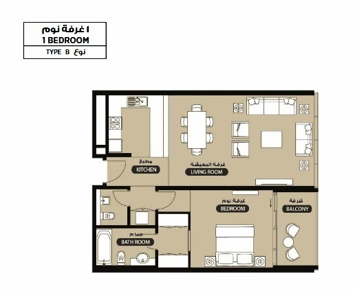 Planning of the apartment 1BR, 870.8 in Lamar Residence, Abu Dhabi