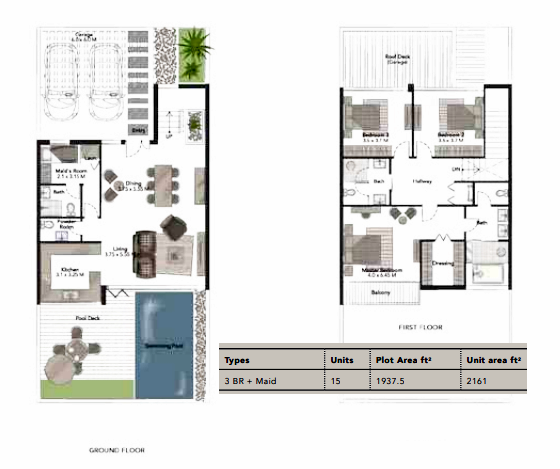 Planning of the apartment Villas 3BR, 2161 in Jumeirah Luxury, Dubai