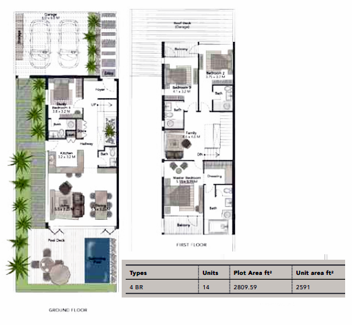 Planning of the apartment Villas 4BR, 2591 in Jumeirah Luxury, Dubai
