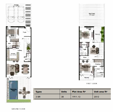 Planning of the apartment Villas 3BR, 2012 in Jumeirah Luxury, Dubai