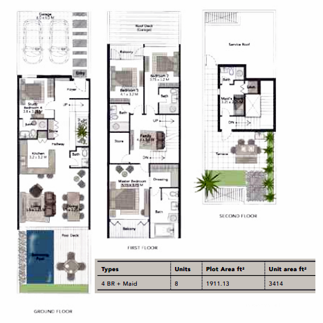 Planning of the apartment Villas 4BR, 3414 in Jumeirah Luxury, Dubai