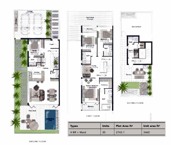 Planning of the apartment Villas 4BR, 3460 in Jumeirah Luxury, Dubai
