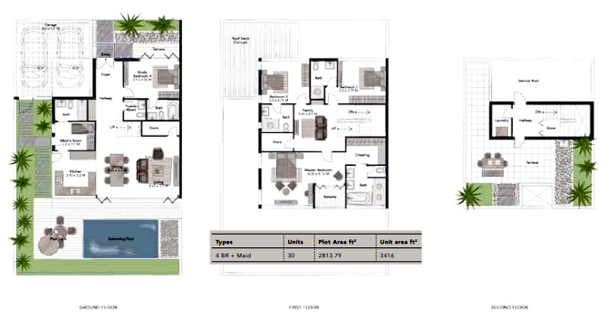 Planning of the apartment Villas 4BR, 3416 in Jumeirah Luxury, Dubai