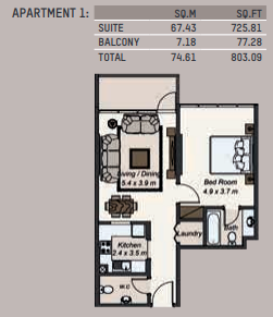 Planning of the apartment 1BR, 803.09 in La Riviera Apartments, Dubai