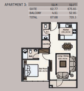 Planning of the apartment 1BR, 728.5 in La Riviera Apartments, Dubai
