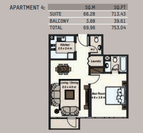 Planning of the apartment 1BR, 753.04 in La Riviera Apartments, Dubai