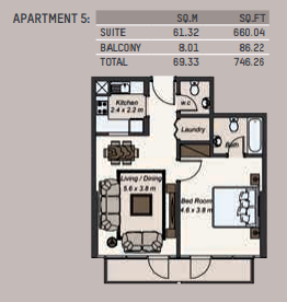 Planning of the apartment 1BR, 746.26 in La Riviera Apartments, Dubai