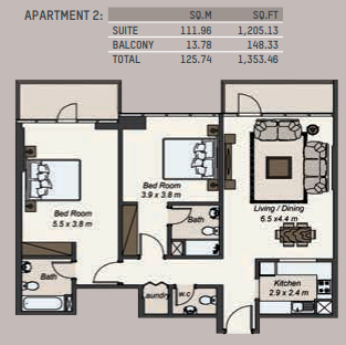 Planning of the apartment 2BR, 1353.46 in La Riviera Apartments, Dubai