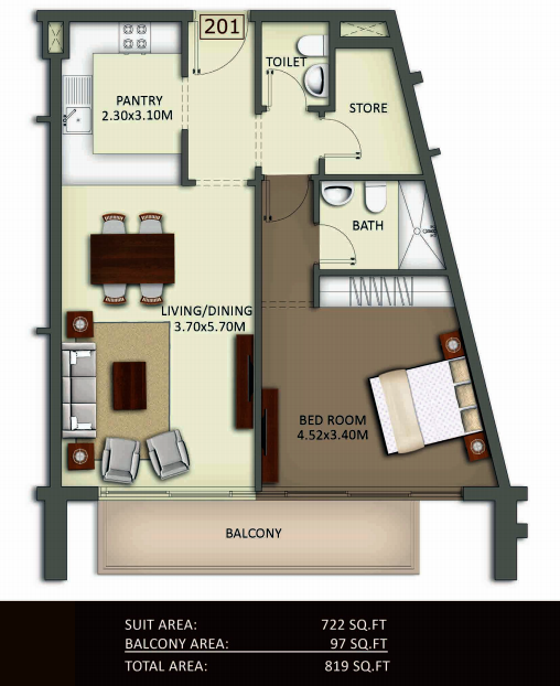 Planning of the apartment 1BR, 819 in Crystal Residence Apartments, Dubai