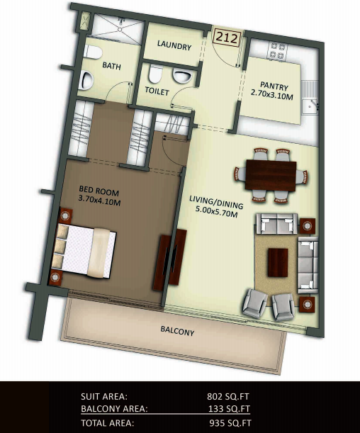 Planning of the apartment 1BR, 935 in Crystal Residence Apartments, Dubai