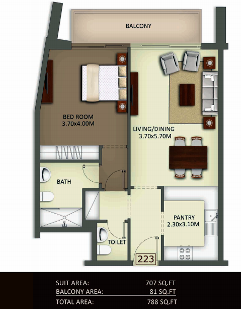 Planning of the apartment 1BR, 788 in Crystal Residence Apartments, Dubai