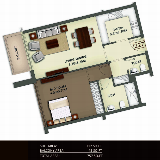 Planning of the apartment 1BR, 757 in Crystal Residence Apartments, Dubai