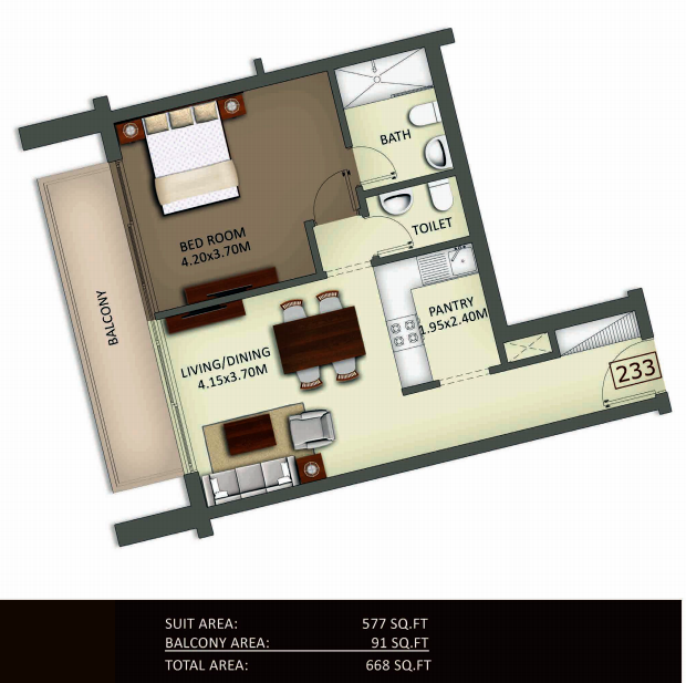 Planning of the apartment 1BR, 668 in Crystal Residence Apartments, Dubai