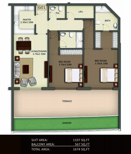 Planning of the apartment 2BR, 1674 in Crystal Residence Apartments, Dubai