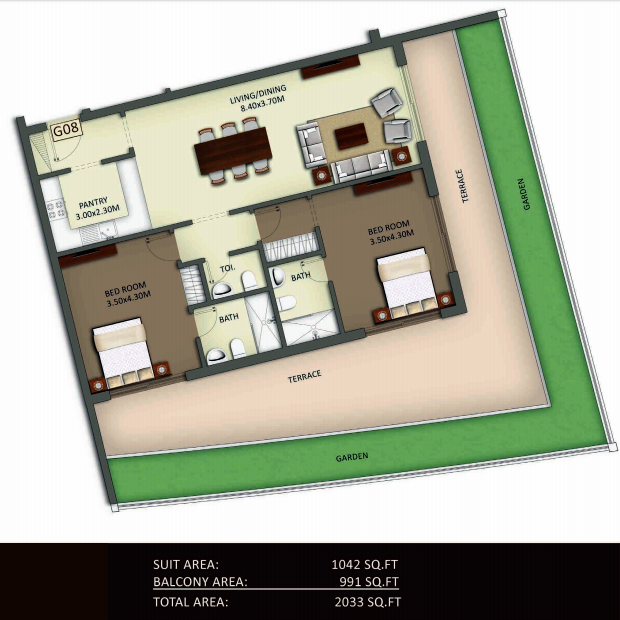 Planning of the apartment 2BR, 2033 in Crystal Residence Apartments, Dubai