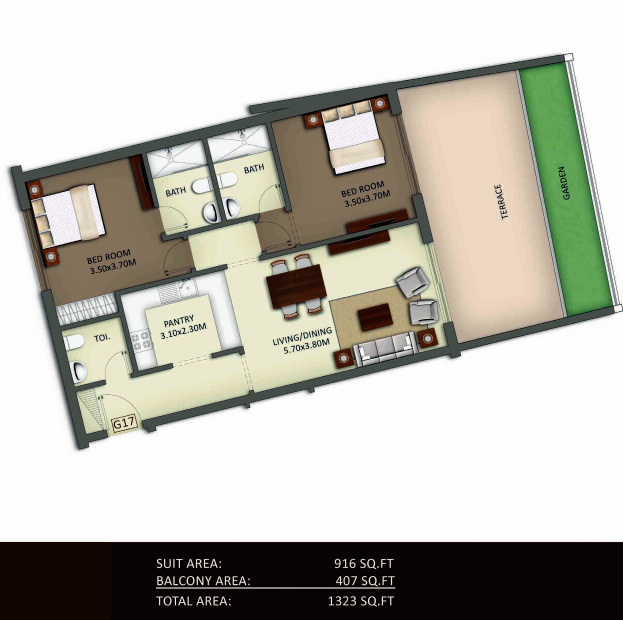 Planning of the apartment 2BR, 1323 in Crystal Residence Apartments, Dubai