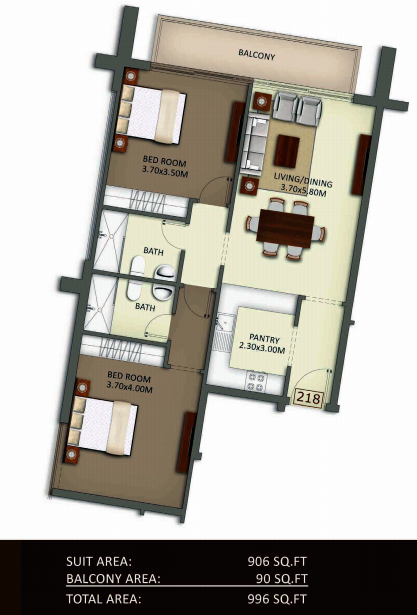 Planning of the apartment 2BR, 996 in Crystal Residence Apartments, Dubai