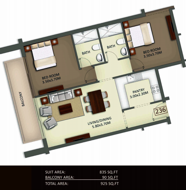 Planning of the apartment 2BR, 925 in Crystal Residence Apartments, Dubai