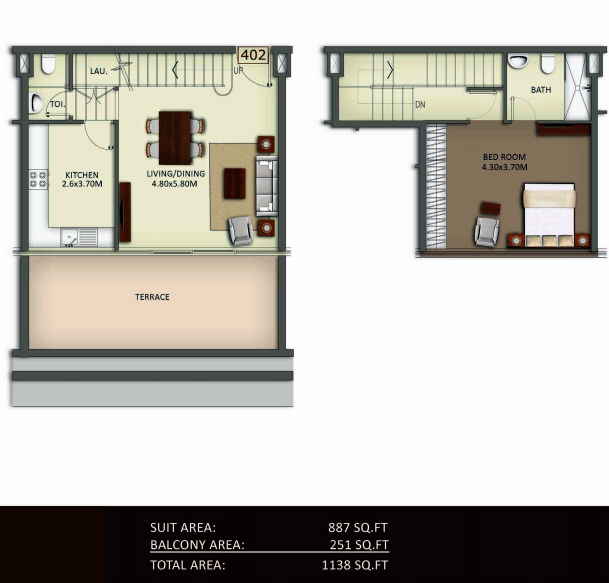Planning of the apartment Duplexes, 1138 in Crystal Residence Apartments, Dubai