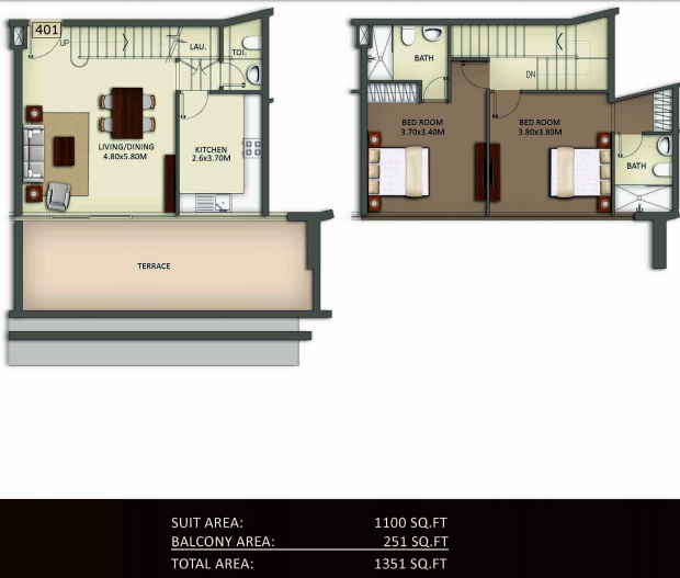 Planning of the apartment Duplexes, 1351 in Crystal Residence Apartments, Dubai