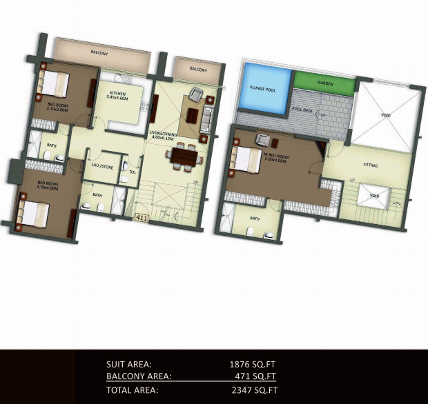Planning of the apartment Duplexes, 2347 in Crystal Residence Apartments, Dubai