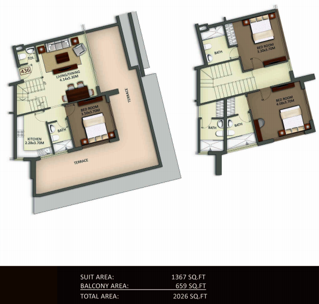 Planning of the apartment Duplexes, 2026 in Crystal Residence Apartments, Dubai
