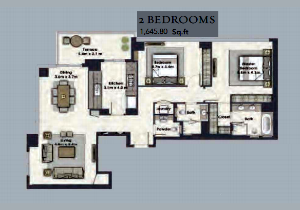 Planning of the apartment 2BR, 1645.8 in Dubai Creek Residences, Dubai