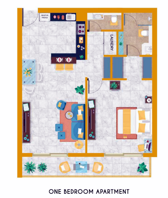 Planning of the apartment 1BR, 1982 in Vincitore Boulevard, Dubai