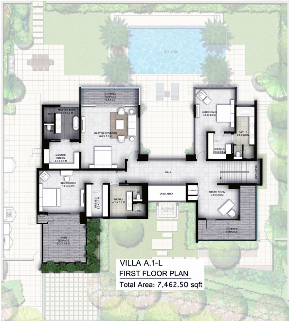 Planning of the apartment Villas 4BR, 7462.5 in The Nest, Dubai