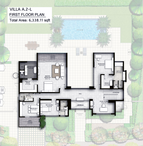 Planning of the apartment Villas 4BR, 6338.11 in The Nest, Dubai