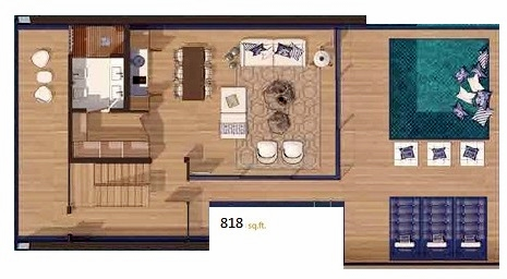 Planning of the apartment 1BR, 818 in The Floating Seahorse, Dubai