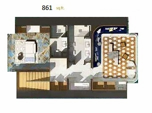 Planning of the apartment 1BR, 861 in The Floating Seahorse, Dubai