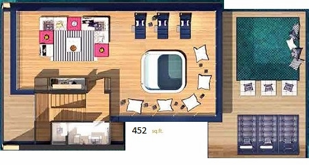 Planning of the apartment 1BR, 452 in The Floating Seahorse, Dubai