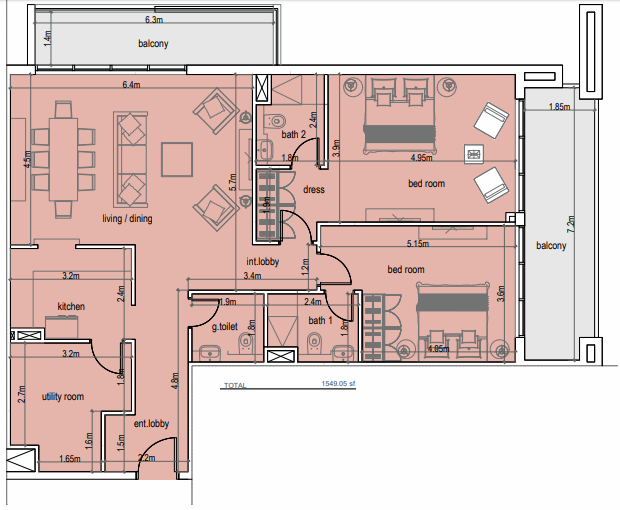 Planning of the apartment 2BR, 1540.08 in Laya Residences, Dubai