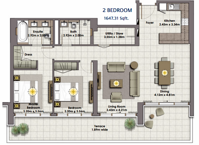 Planning of the apartment 2BR, 1647.31 in The Cove, Dubai