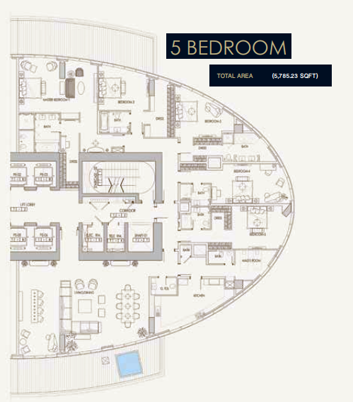 Planning of the apartment 5BR, 5785.23 in Imperial Avenue, Dubai