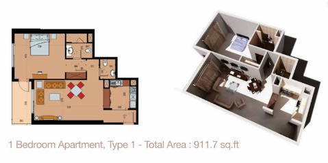 Planning of the apartment 1BR, 911.7 in Sherena Residence, Dubai