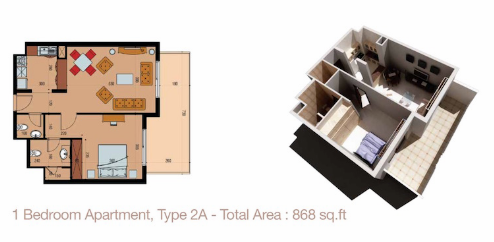 Planning of the apartment 1BR, 868 in Sherena Residence, Dubai