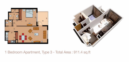 Planning of the apartment 1BR, 911.4 in Sherena Residence, Dubai