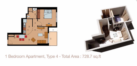 Planning of the apartment 1BR, 728.7 in Sherena Residence, Dubai