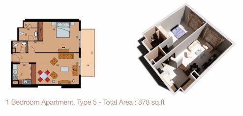 Planning of the apartment 1BR, 878 in Sherena Residence, Dubai