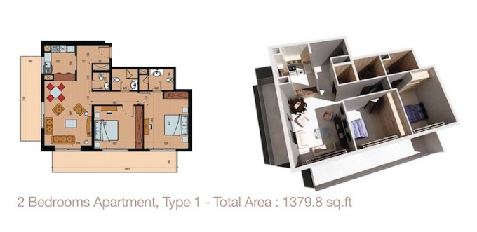 Planning of the apartment 2BR, 1379.8 in Sherena Residence, Dubai