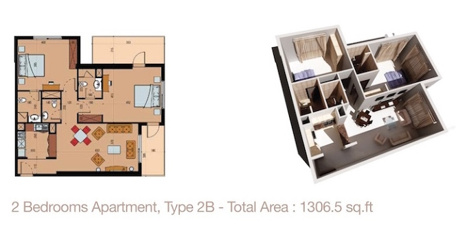 Planning of the apartment 2BR, 1306.5 in Sherena Residence, Dubai