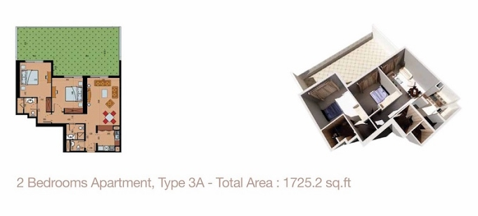 Planning of the apartment 2BR, 1725.2 in Sherena Residence, Dubai